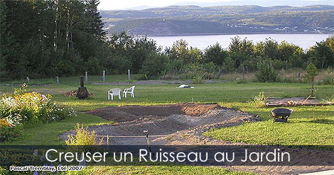 excaver un ruisseau de jardin pour bassin avec cascades conseils. Black Bedroom Furniture Sets. Home Design Ideas